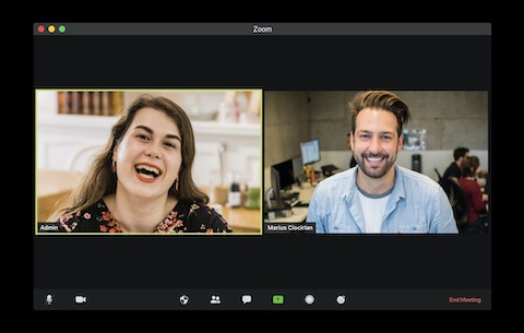 Two people in an online video meeting driving connection